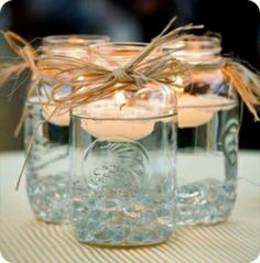 mason jar and candle centerpieces