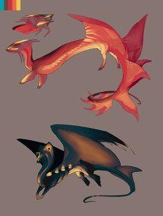 Designs for Stitchy by IrisDesert on deviantART (dragons) Magic Creatures, Alien Creatures, Fantasy Creatures, Mythical Creatures, Fantasy Dragon, Dragon Art, Fantasy Art, Fantasy Races, Creature Concept Art