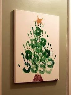 25 Easy Christmas Gifts Kids Can Make by Themselves - Hand print Christmas Tree - Hand Christmas Tree, Christmas Canvas, Simple Christmas, Christmas Art, Christmas Hand Print, Handprint Christmas Tree, Christmas Images, Beautiful Christmas, Christmas Presents For Parents