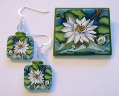 Waterlily Pin and Earrings Set made from an amazing polymer clay cane !www.papermoonjewelry.net