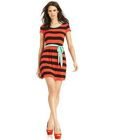 Kensie Dress, Short-Sleeve Scoop-Neck Striped A-Line - Dresses - Women - Macy's