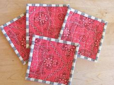 Quilted Coasters  Western Red Bandana  $16.50