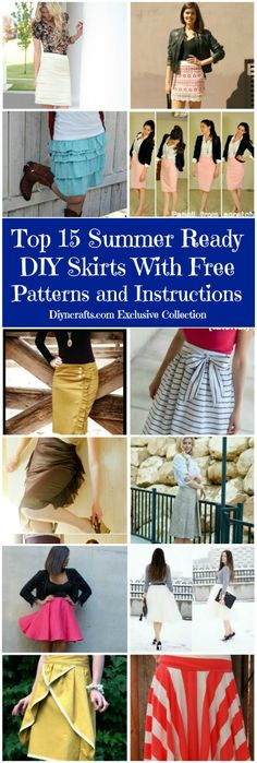 Coolest skirts, FREE patterns and instructions linked! Top 15 Summer Ready DIY Skirts With Free Patterns and Instructions