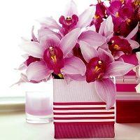 pink white orchids centerpiece