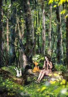 (통나무 벤치 Log Bench) 샌드위치 도시락을 챙겨 나와 작은 소풍을 즐기고, 친구들과 나란히 앉아 이런 저런 이야기를 나누거나 주머니 속의 은색 하모니카를 꺼내어 불기도 해요 머리 위로는 나무그늘이 따가운 햇볕을 막아주고 주변에는 흰색과 노란 빛깔의 들꽃들이 피어 있어 눈의 즐거움을 줍니다  내가 참 좋아하는 그 곳 자연 그대로의 투박한 모습이 좋은 키 큰 나무숲의 커다란 통나무 벤치
