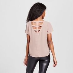 Women's Cage Back Short Sleeve Pocket Top - Lily Star (Juniors')