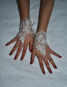 Victorian Lace Bridal Gloves Ivory Wedding gloves by newgloves, $22.00