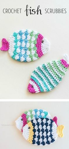 Free pattern for crochet fish scrubbie washcloths. Wouldn't this make great housewarming gifts? | www.1dogwoof.com