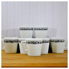 Pyrex Mug Set Coffee Tea Cup Blue Flowers Retro Mid Century Modern Kitchenware Decor Vintage by PicknThriftAntiques, $26.00