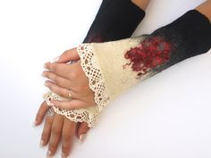 Romantic cuffs hand felted lace very warm by ArtMode on Etsy,