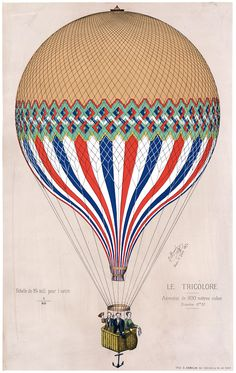 "This print shows the French ""Le Tricolore"" balloon in the colors of the French flag with three passengers, most probably French Aeronaut Jules Duruof, his wife and another man. The print commemorates an ascension of ""Le Tricolore"" in Paris on June 6, 1874."