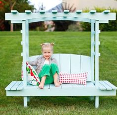 DIY Ana White ~ Build a Child's Bench with Arbor ~ Free and Easy DIY Project and Furniture Plans Diy Pallet Projects, Outdoor Projects, Wood Projects, Woodworking Projects, Furniture Plans, Kids Furniture, Outdoor Furniture, Arbor Bench, Diy Spring