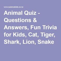 Animal Quiz - Questions & Answers, Fun Trivia for Kids, Cat, Tiger, Shark, Lion, Snake