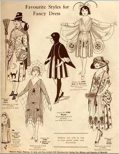 1920s Halloween Costumes ~these would have made great cut out paper dolls