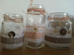 I made these myself! ♡ Jars (pickles, vegetables etc), ribbon, lace, super glue, strings of cotton, buttons and a lot creativity! Don't forget the TLC! :)