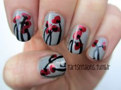 Poppies!     05.18.12 Flowers  This is my entry for Day14 of Nail Challenge- Flowers. Poppies are one of my favorite flowers!  NYC Sidewalkers  L'Oreal Caught Red Handed  Kiss Nail Art Black