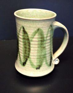Handmade Art Pottery Stoneware Coffee Cup Mug Leaves Marked Glazed Scroll Handle #HandmadeArtPottery