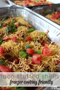 Here& another easy recipes with ground beef! This taco stuffed shells recipe is great for freezer cooking. This recipe makes three pans at once. Freezer Cooking, Freezer Meals, Cooking Recipes, Easy Recipes, Bulk Cooking, Freezer Recipes, Crockpot Recipes, Cooking Tips, Healthy Recipes