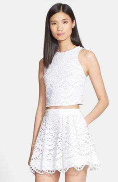 Alice + Olivia 'Tamra' Cotton Eyelet Crop Top available at #Nordstrom