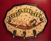 Tattoo Style Rockabilly Jewelry / Key Hook. $40.00, via Etsy.