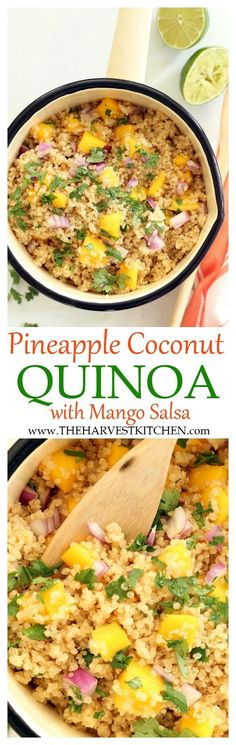 Enjoy this Pineapple Coconut Quinoa alone or as a side dish to grilled chicken or fish. The combo of flavors here is light and summery and fresh and luscious. And served with juicy ripe mango… amazing! | clean eating | | healthy recipes | | tropical quinoa | | coconut quinoa | | quinoa recipes |