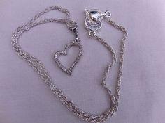 Pink or Clear Crystal Rhinestone Heart Pendant by OswestryJewels