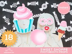 Sweet Shoppe Photo Booth Props Photobooth Props by PaperBuiltShop
