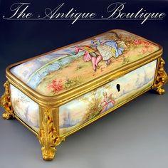 French enamel jewelry casket