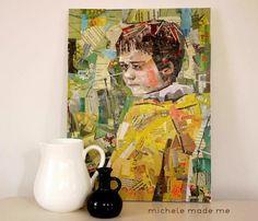 Mod Podge junk mail art collage  http://www.modpodgerocksblog.com/2012/06/boy-caught-thinking-art-collage.html