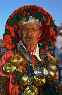 Portrait of Water-seller, Marrakech (Morocco) (by Petr Svarc) Marrakesh, Marrakech Morocco, We Are The World, People Around The World, Around The Worlds, Cultural Diversity, Interesting Faces, North Africa, Casablanca