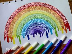 Hope you like it guys! Hope you like it guys! Doodle Art Drawing, Zentangle Drawings, Mandala Drawing, Art Drawings Sketches, Zentangle Patterns, Easy Drawings, Zentangles, Rainbow Drawing, Rainbow Art