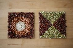 Art: Simple and a great teaching tool. Mosaics out of beans via Classic Play.