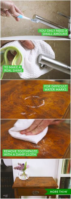 Did you know as well as cleaning your teeth twice a day with it, you can also use toothpaste to make your taps sparkle and to remove unsightly watermarks from your wooden furniture? Watch out step-by-step video guide to learn how.