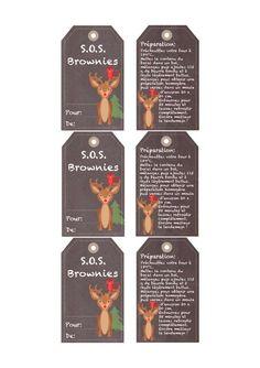 Brownie S. - Brownies en un Frasco (Regalo Gourmet) Mason Jar Gifts, Mason Jars, Sos Recipe, Sos Cookies, Brownies In A Jar, Diy Cadeau, Gifts For Cooks, Gourmet Gifts, Christmas Printables