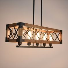 Baycheer / Industrial Style 5 Light Ceiling Light Island Lamp with Wood Frame in Black Finish for Living Room Restaurant - Licht Wood Lamps, Industrial Light Fixtures, Living Room Restaurant, Lamp, Ceiling Lights, Industrial Livingroom, Wooden Lamp, Lights, Living Room Lighting