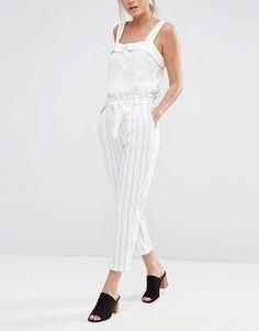 3c874e576661 Image 4 of Oasis Stripe Peg Paperbag Pants Afslappet Tøj