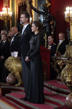 HRH King Felipe and Queen Letizia hold reception for Spain's Diplomatic Corps 1/21/2015