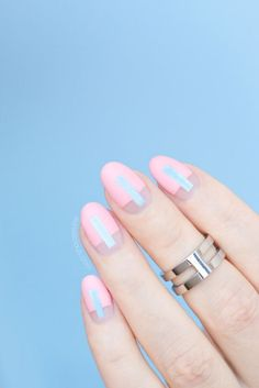 Half Negative Space Pink and Blue Nail Design