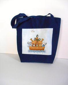 Noah's Diaper Bag Tote Bag Handbag Counted Cross by DonnaDesigned