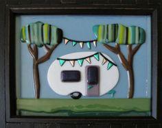 Vintage Teardrop Travel Trailer Party in the Woods Fused Glass Camper Art Frame