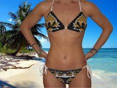 Costume bikini donna triangolo due pezzi nero modello Nyeusi fatto mano unico nel suo genere