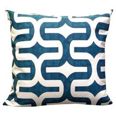 """Cotton pillow with an ogee motif in blue.  Product: PillowConstruction Material: Cotton cover and polyester fillColor: Blue and whiteFeatures:  Zippered closureReverses to same patternInsert included Dimensions: 18"""" x 18""""Cleaning and Care: Machine wash on cold, gentle cycle. Lay flat to dry."""