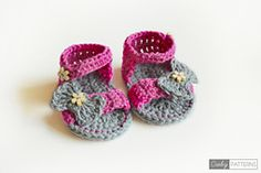 Ravelry: Pink Flower Sandals - Crochet Baby Booties pattern by Croby Patterns