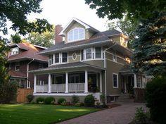 •Front porch deck: - Sikkens Rubbol Solid Stain 226 - Riverbed •House stucco: - Benjamin Moore HC97 - Hancock Gray •2nd floor cedar: - Benjamin Moore 515 - Baby Turtle •Front porch ceiling: - Benjamin Moore 514 -