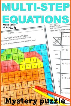 Solving Equations with Variables on Both Sides Activity Mystery Puzzle Math Practice Worksheets, Algebra Worksheets, Algebra 1, Algebra Games, Math Games, Simplifying Expressions, Math Expressions, Seventh Grade Math, 8th Grade Math