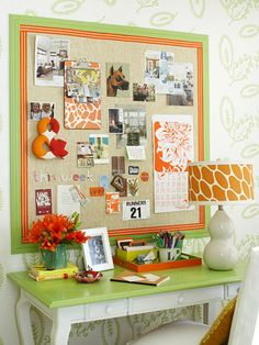 Inspirational Bulletin Board  Every good scrapbook room has an inspiration board to keep track of trinkets and show off favorite ideas. Dress yours in a painted frame, fabric backing, and bright ribbon borders. Pin tickets, photos, and other items to the board for later scrapbooking. Beautiful colors and designs from magazine pages get you in the scrapping mood.