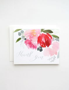 "Spring Floral in Turqoise ""Thank You""Greeting Card - Yao Cheng Design"