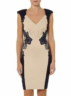 Cream and navy lace dress