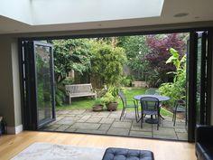 A 5 panel door set in Kingston. Small Garden Design, Patio Design, House Design, Small Backyard Landscaping, Small Patio, Landscaping Ideas, Outdoor Spaces, Outdoor Living, Townhouse Garden