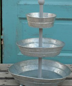 three tier platter. this would be nice filled with apples or lemons, too